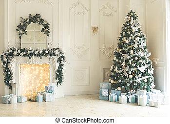 beau, vivant, dons, salle, classique, nouveau, grand arbre, cheminée, fenêtre., année, intérieur, maison, décoré, noël