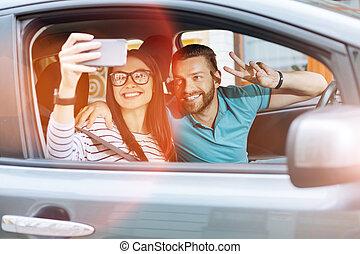beau, voiture, couple, jeune, selfies, confection