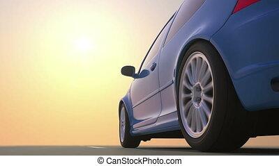 beau, voiture, fond, route