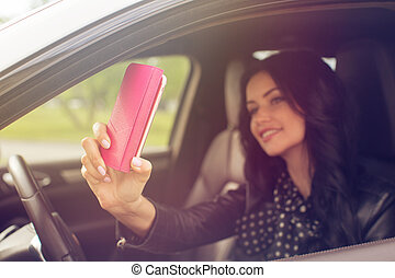 beau, voiture,  selfie, femme,  brunette