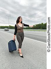 beau, voitures, arrêt, femme, valise