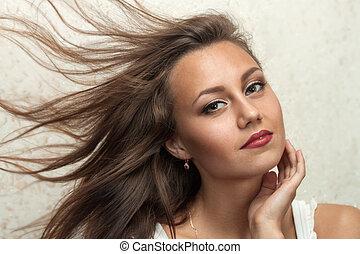 beau, voler, figure, cheveux, propre, portrait, girl