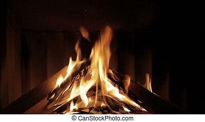beau, vrai, cheminée, brûler