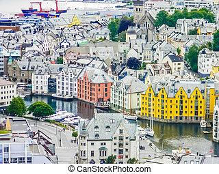 beau, vue aérienne, de, les, alesund, cityscape, norvège