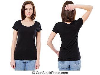 beau, vue., brunette, chemise, mockup, devant, femme, t-shirt, arrière-plan., noir, t, gabarit, vue, girl, blanc, arrière