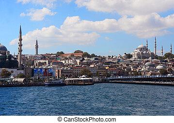 beau, vue, de, ville, bâtiments, et, mosquées, sur, les, européen, partie