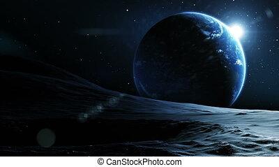 beau, vue, earth., lune