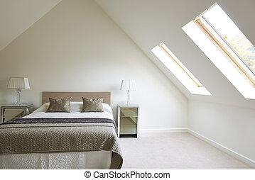 beau, vue intérieur, luxe, chambre à coucher