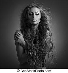 beau, woman., battement des gouvernes, long, hair.