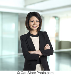 beau, woman., chinois, business