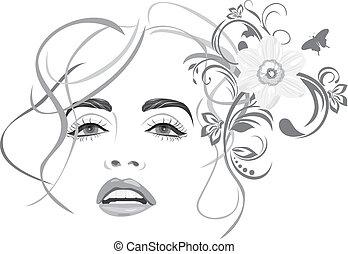 beau, woman., mode, coiffure