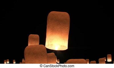 beau, yeepang, festival., animation., voler, lanternes, non...