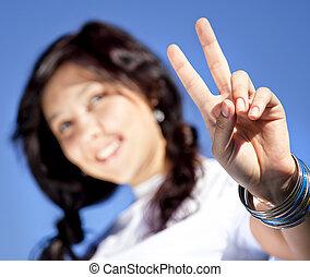 beau, yeux bleus, brunette, exposition, symbole., main, v, portrait, girl