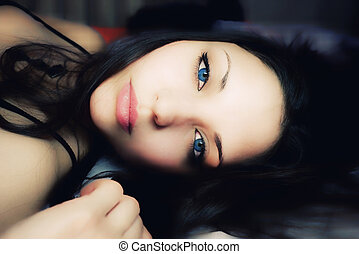 beau, yeux bleus, femme, sombre, mensonge