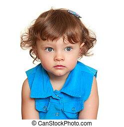 beau, yeux bleus, look., doux, pensée, clair, closeup, girl