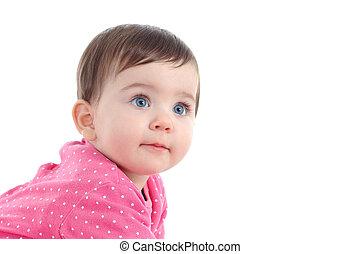 beau, yeux bleus, portrait, bébé