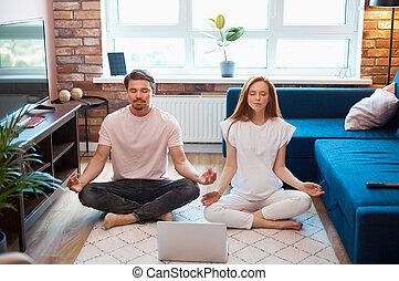 beau, yoga, couple, pratique, méditer