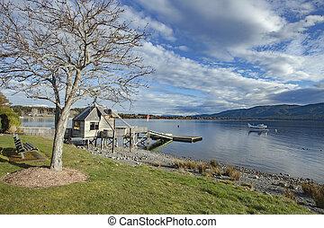 beau, zélande, anau, scénique, lac, fiordland, southland,...
