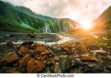 beau, zélande, glacier, scénique, renard, côte, southland,...