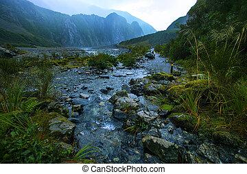 beau, zélande, naturel, piste, glacier, scénique,...