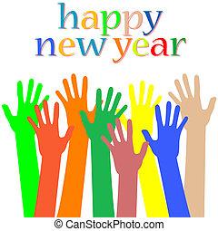 beaucoup, année, heureux, nouveau, mains