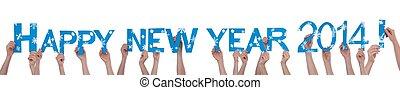 beaucoup, année, nouveau, tenant mains, 2014, heureux