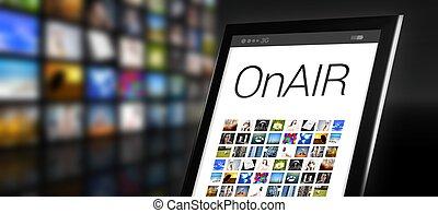 beaucoup, app, air, tablette, icônes