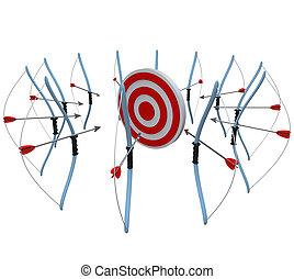 beaucoup, arcs flèches, viser, à, une, cible, dans, concurrence