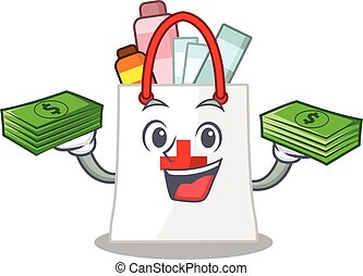 beaucoup, argent, achats, dessin animé, sac, drogue, caractère, riche
