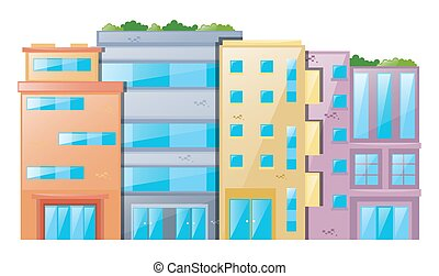 beaucoup, bâtiments, fond blanc