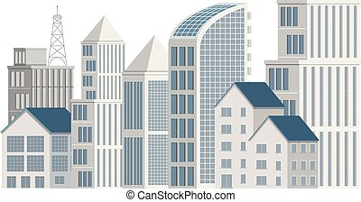beaucoup, bâtiments, fond blanc, grand