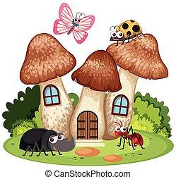 insectes beaucoup champignon maison insectes beaucoup clipart vectoriel rechercher. Black Bedroom Furniture Sets. Home Design Ideas