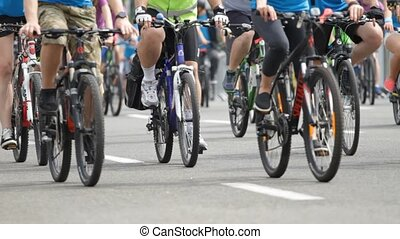 beaucoup, cavalcade, bicycles, gens