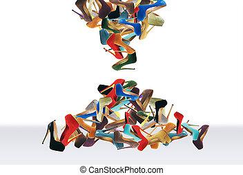 beaucoup, chaussures, femmes