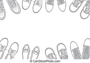 beaucoup, chaussures, fond, sports