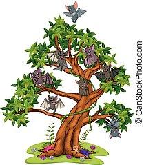 beaucoup, chauves-souris, dessin animé, arbres