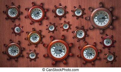 beaucoup, clocks, barre, forme, ship's