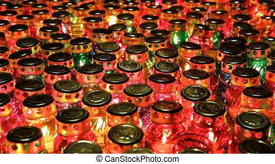 beaucoup, commémoratif, bougies, jour, verre