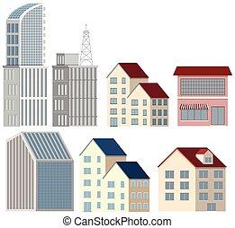 beaucoup, conceptions, blanc, bâtiments, fond