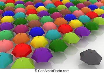 beaucoup, contre, une, sombre, multicoloured, parapluies