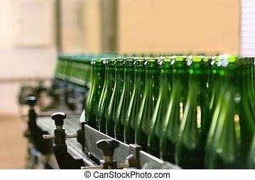 beaucoup, convoyeur, bouteilles, ceinture