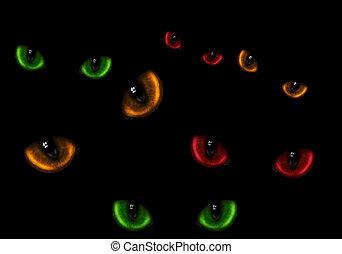 beaucoup, de, dangereux, chat, yeux