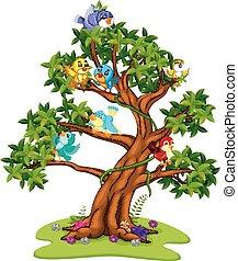 beaucoup, dessin animé, arbres, oiseaux