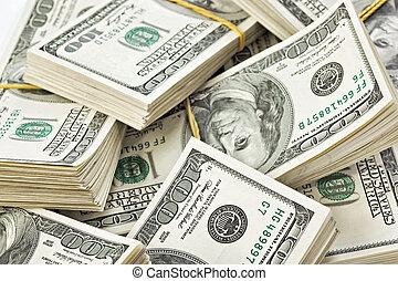 beaucoup, dollars, paquet, nous, 100, notes, banque