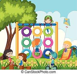 beaucoup, enfants jouer, cour de récréation