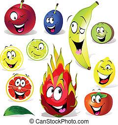 beaucoup, expressions, fruit, dessin animé