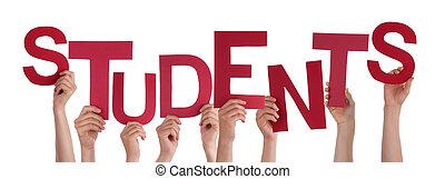 beaucoup, gens, mains, tenue, rouges, mot, étudiants