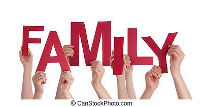 beaucoup, gens, mains, tenue, rouges, mot, famille