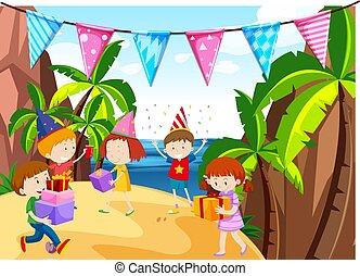 beaucoup, gosses, plage, avoir, fête