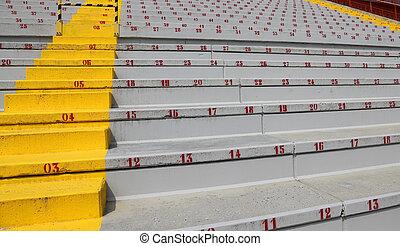 beaucoup, gradins, nombres, stade